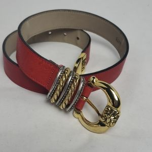 Streets Ahead red belt with gold and silver buckle